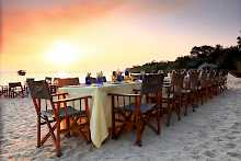Strand Dinner der Kungwe Beach Lodge
